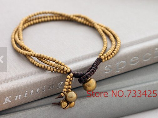 Three Strand Simple Br Beaded Bracelet Handmade Woven Wax Cord Thai Style Bell Closure In Bracelets From Jewelry
