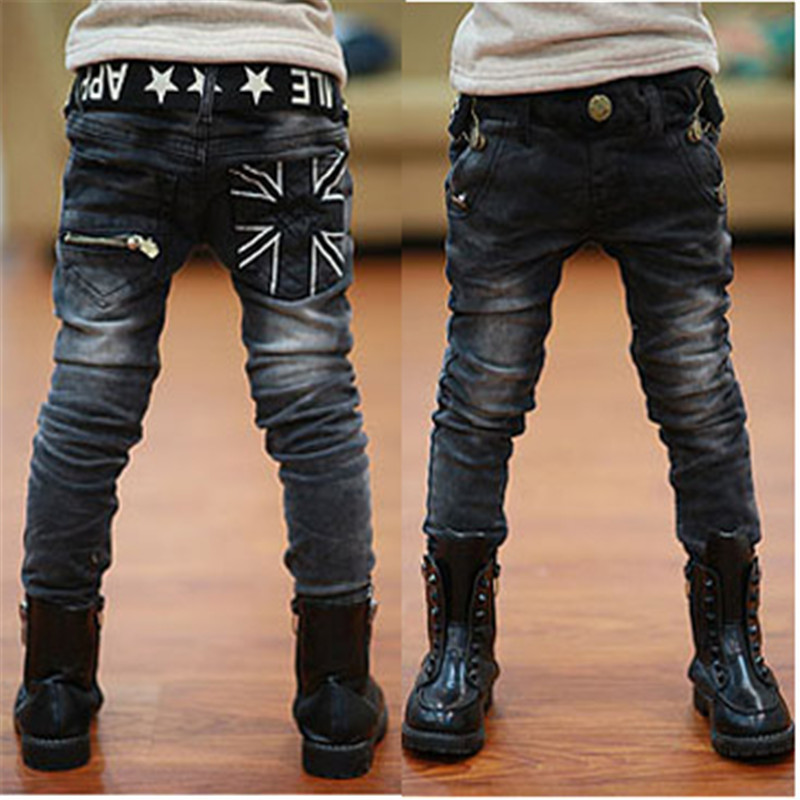 Kids boys spring autumn2017 black jeans big virgin trousers fashion pants boys brand children casual for boys chottn long pants-in Pants from Mother & Kids