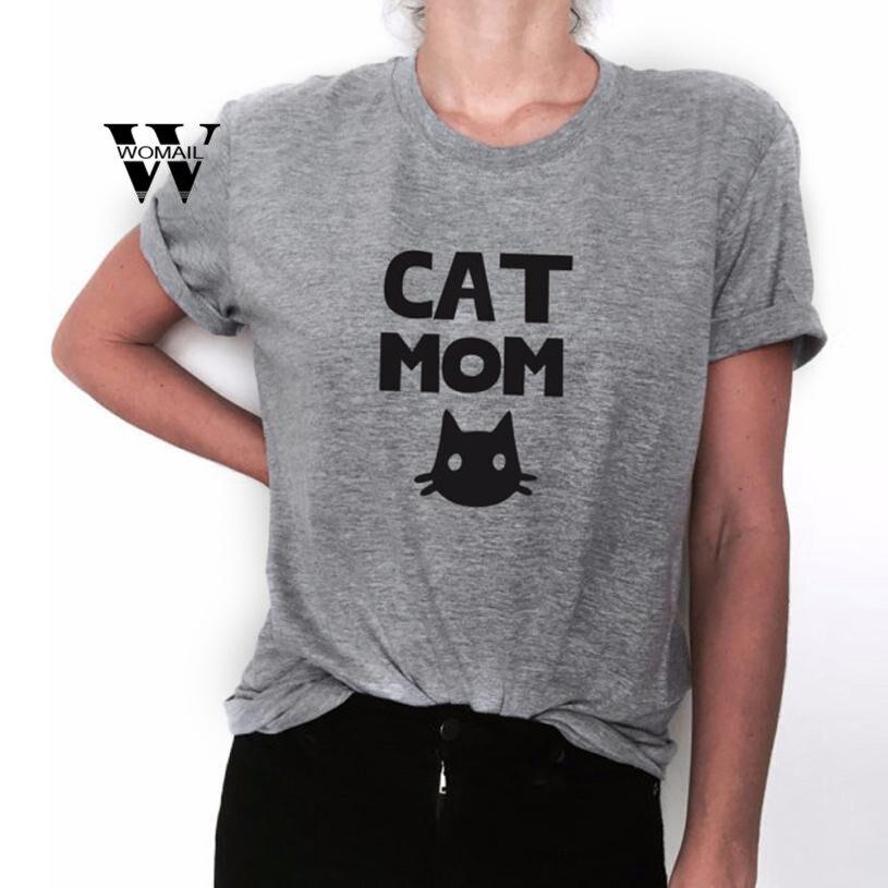 2018 Neue Mode Frauen Casual Katze Mom Drucken Kurzarm Tops T-shirt Ernte Erstaunliche Heißer Verkauf April 6