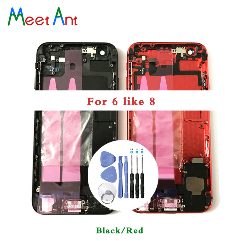 New For iphone 6 6G like 8 or 6 Plus like 8 Plus Style Back Middle Frame Chassis Full Housing Assembly Battery Cover Flex Cable