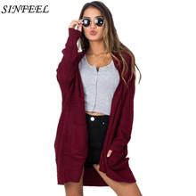 SINFEEL 2018 Casual Long Knitted Cardigan Autumn Korean Elegant Women Loose Solid Color Pocket Outwear Sweater Jacket Cape Top women long sweater cardigan 2017 female autumn korean loose hooded coarse wool coat jacket pocket thickened knitted outwear 1kg