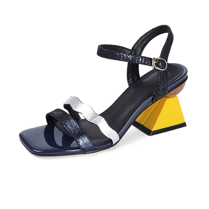FEDONAS Fashion Top Quality Genuine Leather Women Sandals Prom Night Club Shoes Summer Shoes Woman Rome Strange Heels Pumps-in High Heels from Shoes    3