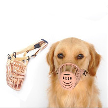 7 Sizes Brown Strong Plastic Dogs Muzzle Basket Design Anti-biting Adjusting Straps Mask Anti-Bite Bark Chew Muzzles for dogs