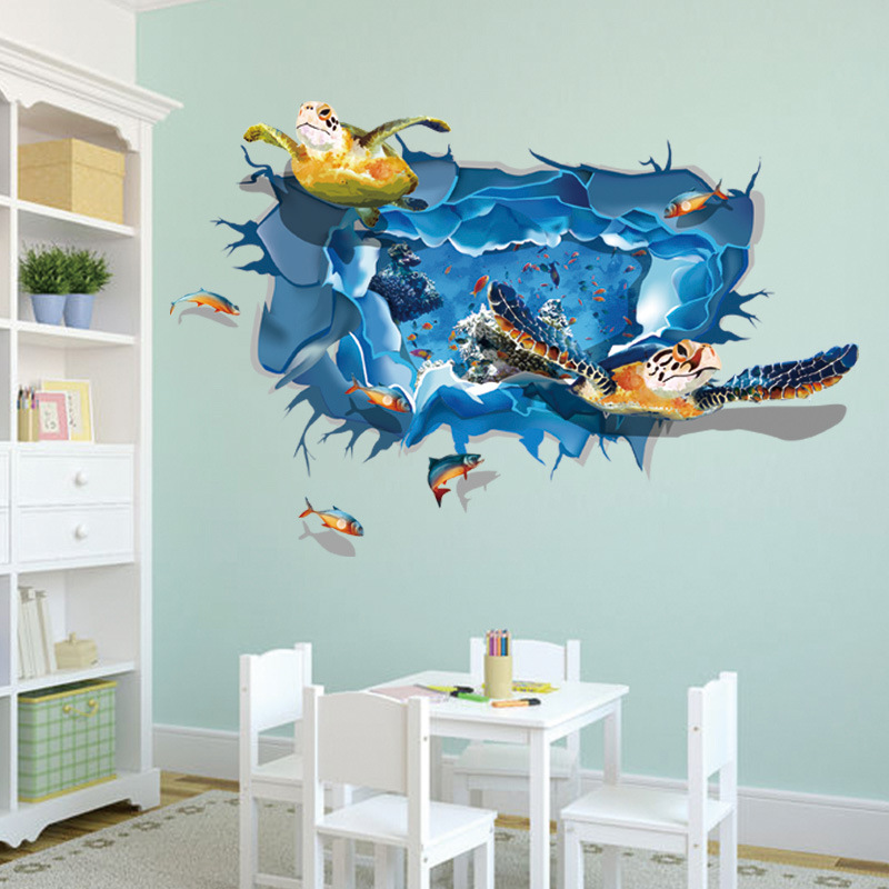 Aliexpress.com : Buy Brand New 3D Fish Turtle Sea World Animals Wall  Sticker Mural Art Posters Decor Vinyl For Living Room From Reliable  Decorative Vinyl ... Part 52