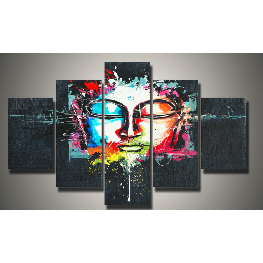 5 Pieces set Buddha Canvas Painting Modern Decorative Portfolio Abstract art Paintings Wall Art Pictures for Living Room in Painting Calligraphy from Home Garden