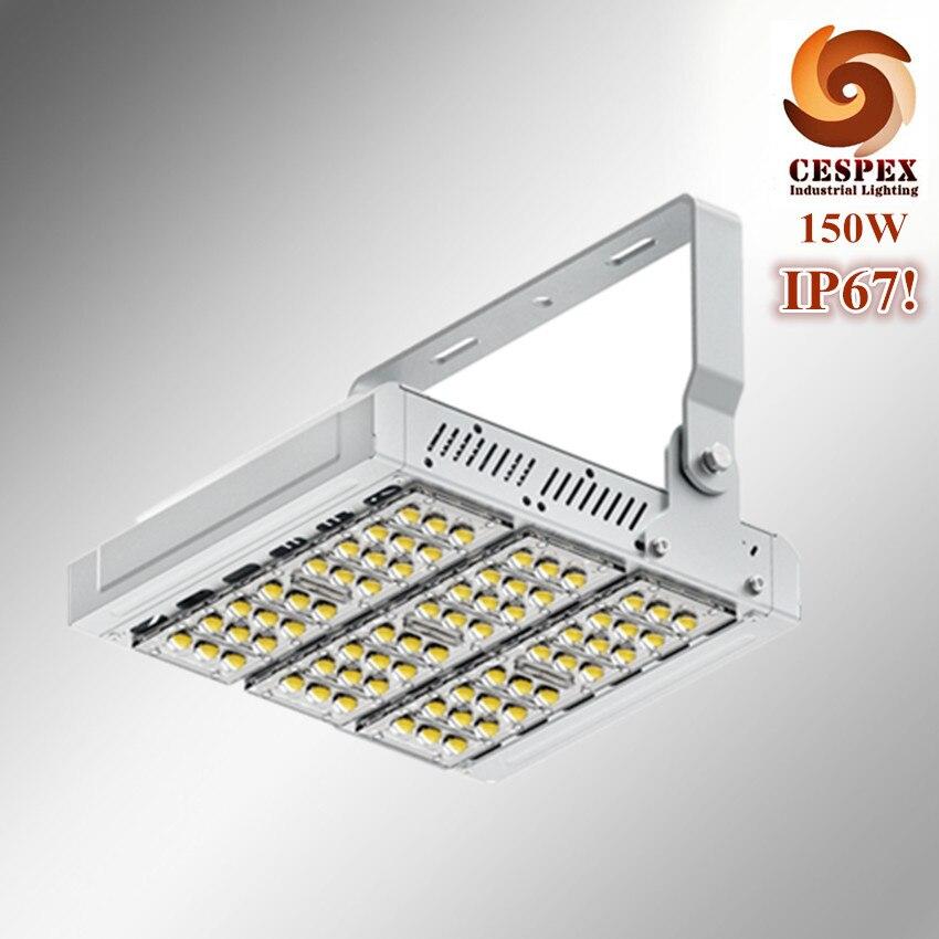 110lm/w haute efficacité lumineuse IP67 super haute preuve de l'eau de qualité moulé sous pression en aluminium 150 W haute mât tunnel A MENÉ la lumière d'inondation