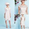 2016 elegante vaina de encaje mangas Cap madre de la novia vestidos tallas grandes con chaqueta de la rodilla longitud vestido de noche madres traje