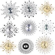 Бесшумные настенные часы с круглым металлическим алюминиевым циферблатом, стразы, встроенные декоративные часы, настенные часы, современный дизайн