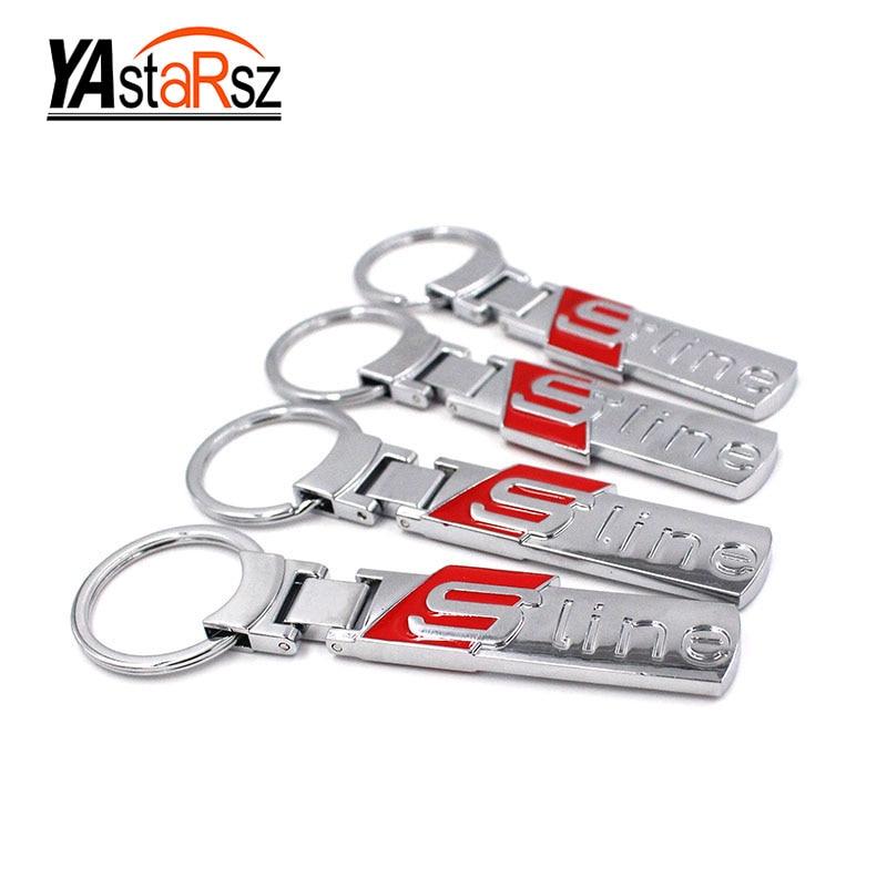 Мода линия автомобиля металла логотип кольцо для ключей брелок для ключей для Audi A3 A4 A6L Q3 Q5 Q7 chaveiro llavero ключ holdercar укладки ...