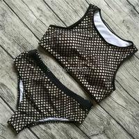 Large Size XL-4XL Women Mesh Bikini set Push Up Swimwear High Waisted Retro Swimsuit Plus Size Female bathing suit Beach Wear