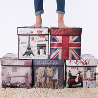 Folding Cover Storage Box Europe Retro Printing Storage Box Sit Box Shoes Boxes toy Organizer Home Decor