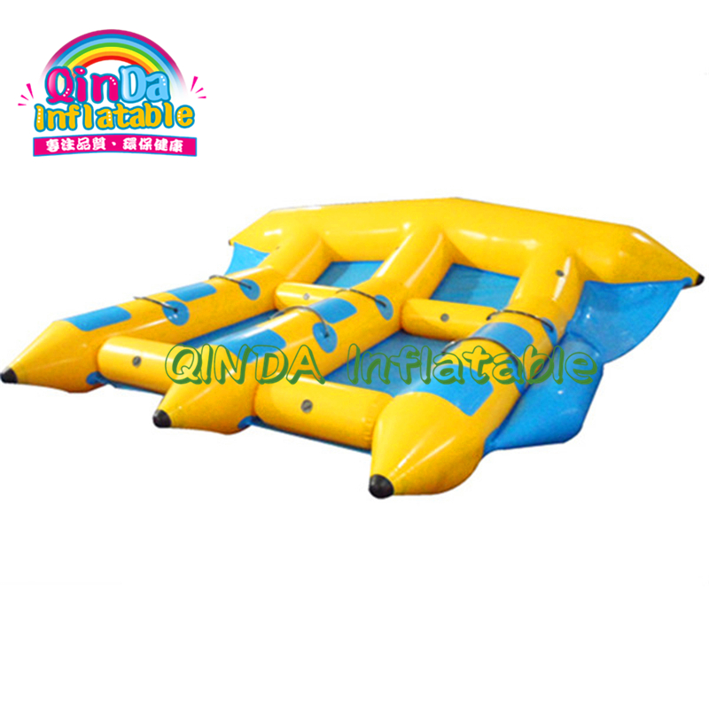 Summer hot water play games 3 tubes inflatable flying banana fish/flying towables for water sports toys
