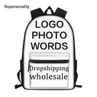 Nopersonality Custom Your Name Image Backpack for Teen Boys Girls Cool Primary Junior Kids Bagpack Cartoon Rucksack Bookbags