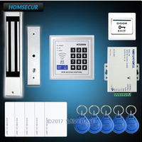 HOMSECUR RFID Door Access Control Kit With 280KG Electromagnetic Lock+ RFID Card+ Power