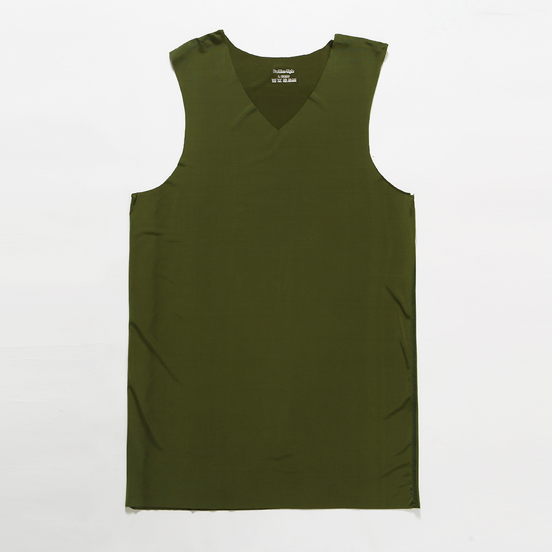 Summer Adult Men V-neck Ice Silk Seamless Vest Sleeveless   Top   Solid Color Elastic Plus Size Quick Dry   Tank     Tops