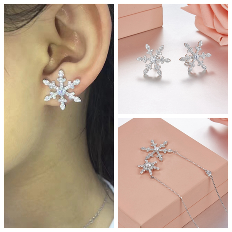 Fashion Snowy Flurry Zircon 925 Sterling Silver Necklace