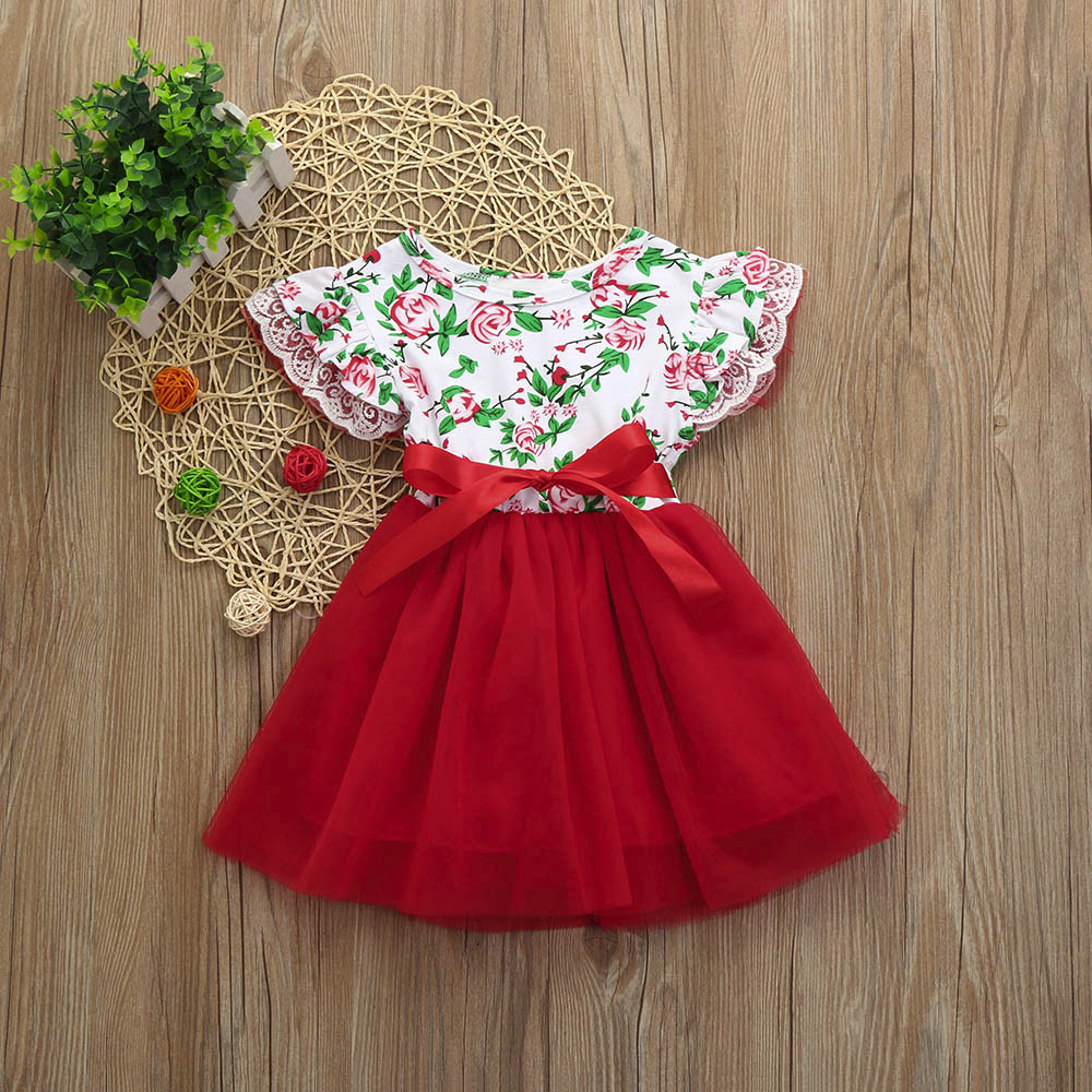 2018 New Arrival Fashion Baby Girls Infant Toddle Floral Lace Tutu Sleeveless Clothes Princess Dress