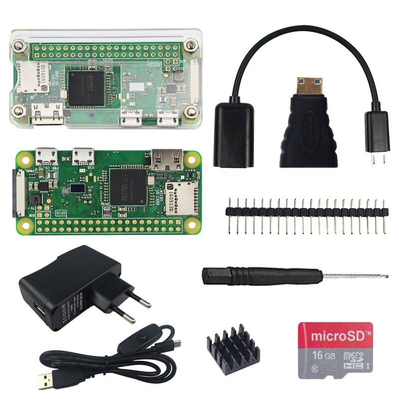 Kit de Inicio 2018 Raspberry Pi Zero W + carcasa acrílica + disipador de calor + cabezal GPIO de 20 pines + destornillador + fuente de alimentación + tarjeta SD 16g/cámara 5MP