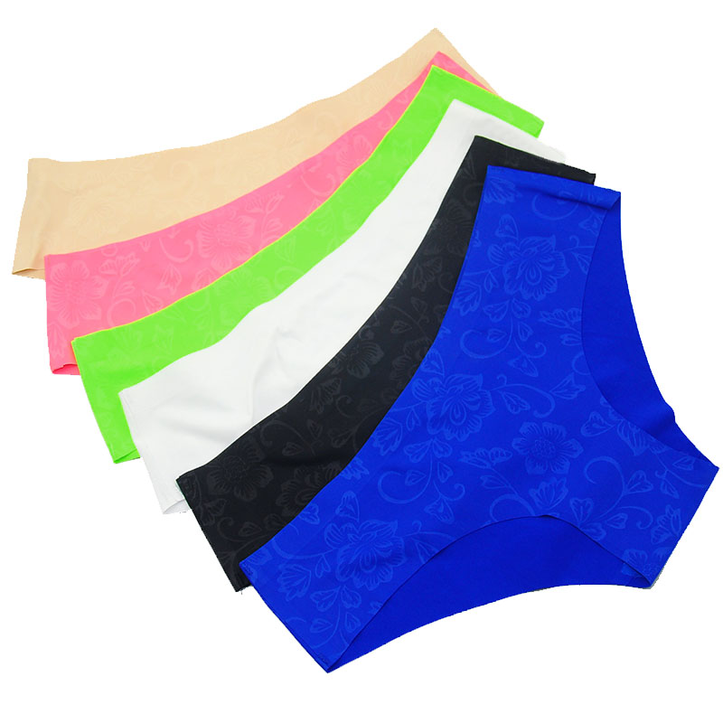 New 6 Colors S-XL Women Briefs Seamless One-piece Mid-rise Printed Underwear Sexy Lingerie Female Briefs