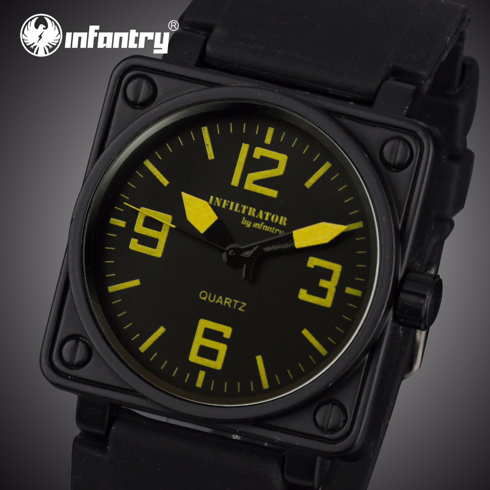 INFANTRY Men Quartz Watches Relogio Masculino Square Face Big Dial Waterproof Military Sports Watches Silicone Band Male Clocks