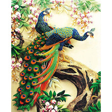 Digital Diy Oil Painting By Numbers Gorgeous Peacock Wall Decor Picture On Canvas Paint Coloring Number Drawing Animals