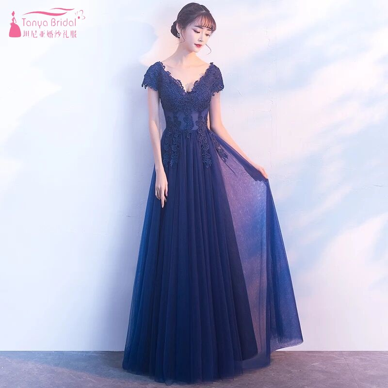 Navy Blue A Line Lace   Bridesmaid     Dresses   2018 Simple Long Silvery Wedding Guest   Dress   For Prom Party Women Formal   Dress   JQ50