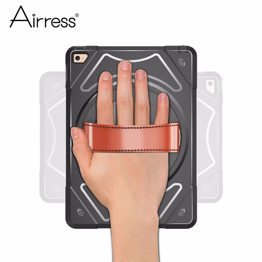 Airress Hand Strap Tablet Case With Swivel Mount Holder Kickstand Rugged Armor Cover for ipad Air 2