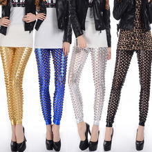 Spring and summer new imitation leather pants rock stage scales hole leggings