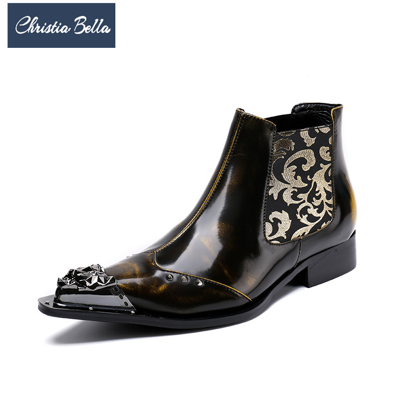 Christia Bella British Style Metal Pointed Toe Men Ankle Boots Party Genuine Leather Dress Boots Fashion Men Chelsea Boots Brown christia bella british style men ankle boots rivets genuine leather pointed toe chelsea boots plus size men formal dress shoes