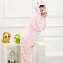 Милая розовая свинка с рисунком героев из мультфильма; пижама в виде животного для косплея Детские фланель для мальчиков и девочек Ночная пижма Женский Мужской Пижама с капюшоном Стиль