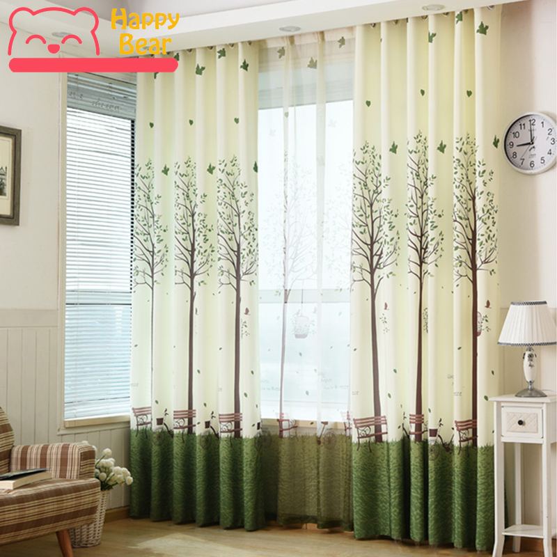 Happy Bear Home Decorative Curtains for Window Garden Green Polyester Shading Curtains Living Room Bedroom Custom Window CurtainHappy Bear Home Decorative Curtains for Window Garden Green Polyester Shading Curtains Living Room Bedroom Custom Window Curtain