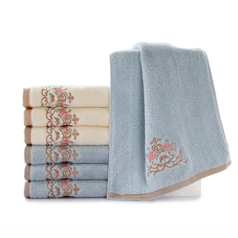 34 76cm Universal Small Hand Towel 100 Cotton Flower Embroidered Face Soft Towels For Washcloth 2colors In From Home Garden On