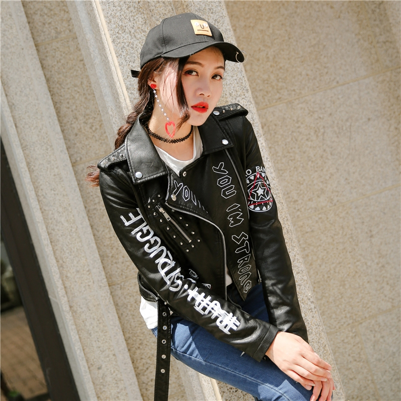 2019 Autumn Fashion Punk Style PU Leather Jacket Women Letters Pattern Slim Long Sleeve Spring Black Motorcycle Graffiti Jacket-in Jackets from Women's Clothing    1