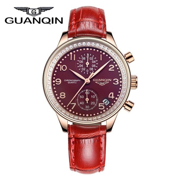GUANQIN GQ15008 lady Chronograph series quartz watch women fashion luxury watch female  Austria Diamond red Leather strap seiko watch premier series sapphire chronograph quartz men s watch snde23p1