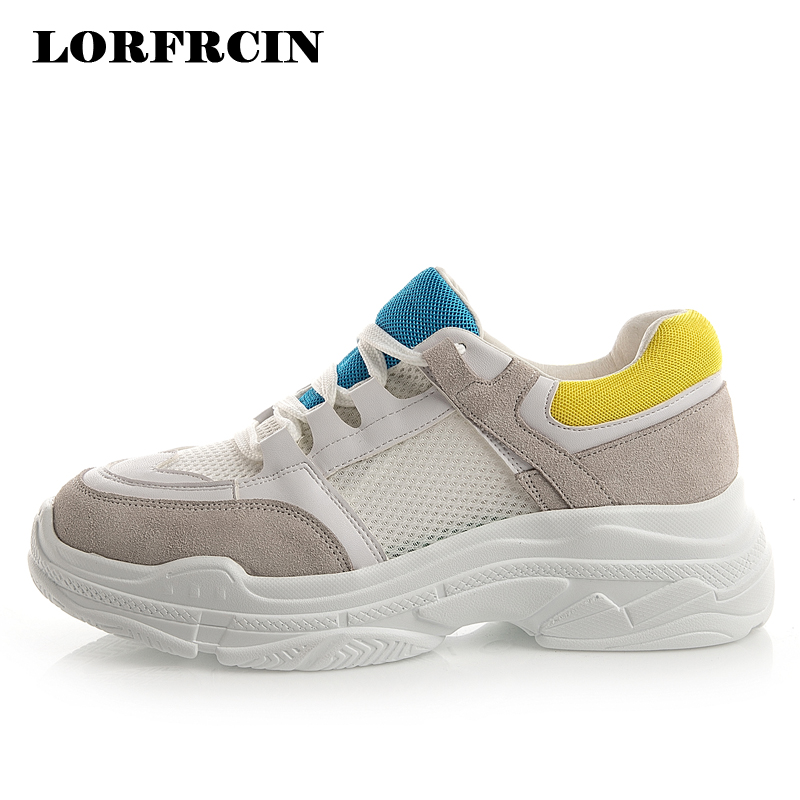 Genuine Leather Platform Shoes Woman Designer Chunky Sneakers Women Casual Shoes Flats Trainers Ladies Creepers Autumn LORFRCIN цена