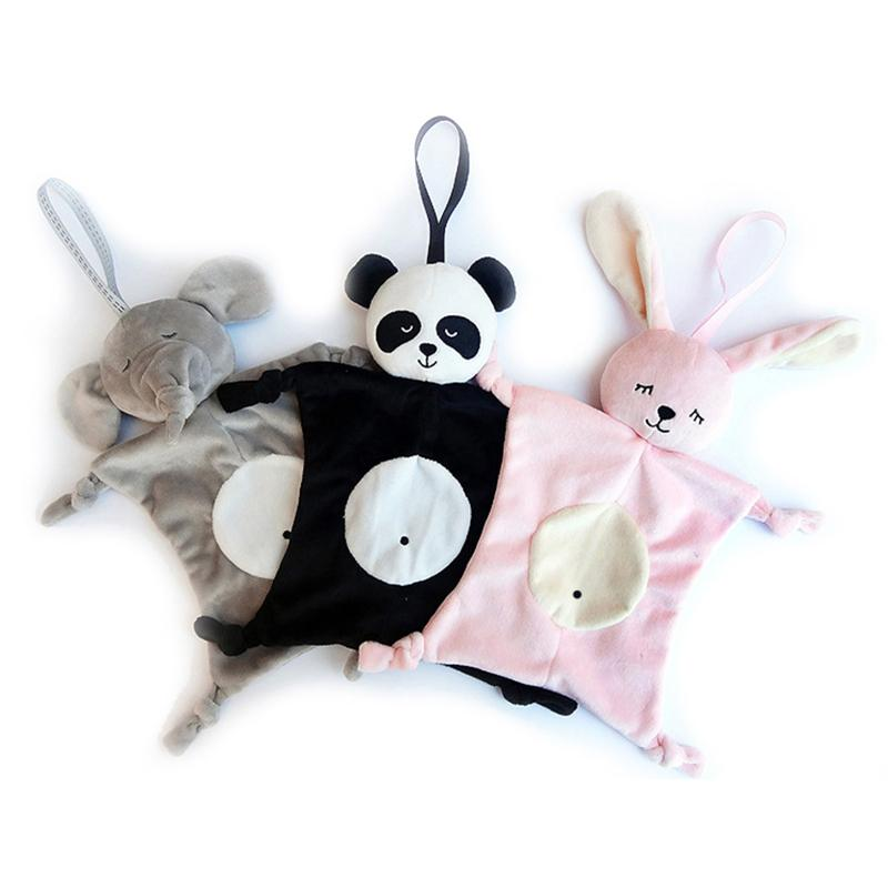 Newborn Blankie Soothing Towel Of Baby Toys Cartoon Animal Shape Infant Baby Gift Soft Soothe Towel Plush Toys Panda Rabbit