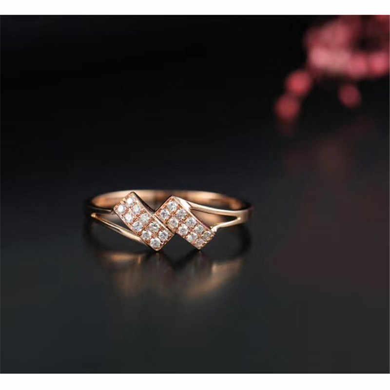 Aazuo 18 K Rose Gold Bất Kim Cương 0.06ct IJ Sl1 Bowknot đôi Dòng Nhẫn cho Người Phụ Nữ Charm Trang Sức Thời Trang Tình Yêu Quà Tặng Au750
