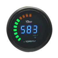 Dragon gauge 52mm Black Shell Auto Car Digital Smoked 20 LED Auto RPM Tacho Tachometer and volt gauge Meter Free shipping