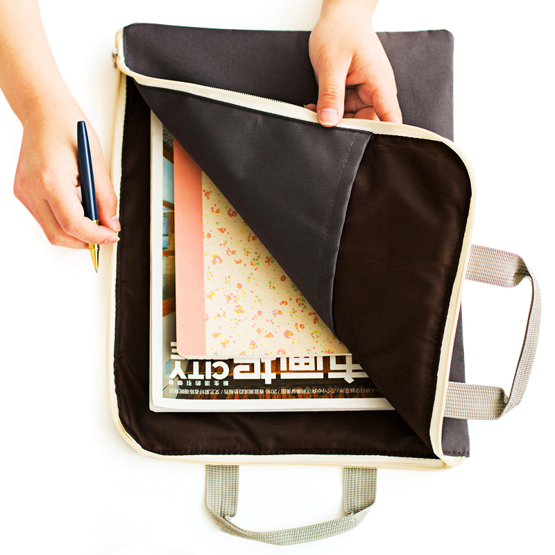 Korean Zipper A4 Big Capacity Document Bag Men Women Simple Solid Office Business Brifcase Storage File Folder