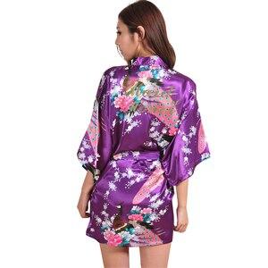 Image 5 - VLENATLNO Robe en Satin, peignoir en rayonne, pour femmes, vêtements de nuit Kimono, pour demoiselle dhonneur, Floral, grande taille