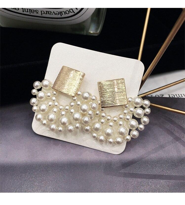 Vintage Simulated-pearl Geometric Women Dangle Earrings Sector Pearl Earrings Bohemian Drop Earrings 6