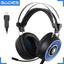 SADES A9 USB Gaming Headset 7.1 de Respiración de Iluminación LED Más de auriculares con cable de Auriculares Para Juegos con Micrófono Vibración para PC Portátil juego