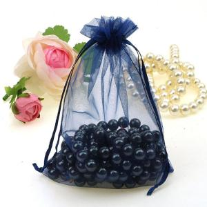Image 4 - Wholesale 100pcs/lot 15x20cm Deep Blue Wedding Drawable Organza Voile Gift Packaging Bags Can Customized Logo Printing 02