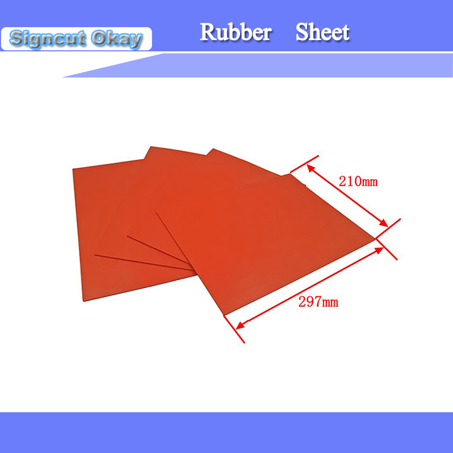 1PC Laser Rubber Sheet/ Rubber Sheet Pad Red A4 Size 297*210*2.3mm With High Quality For Stamp Free Shipping