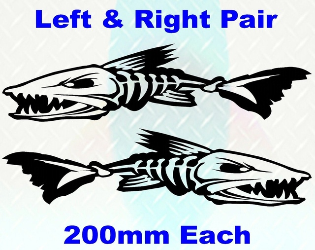 2 X Skeleton Fish Boat Decals 200mm Wide Stickers Fishing Tackle Graphics