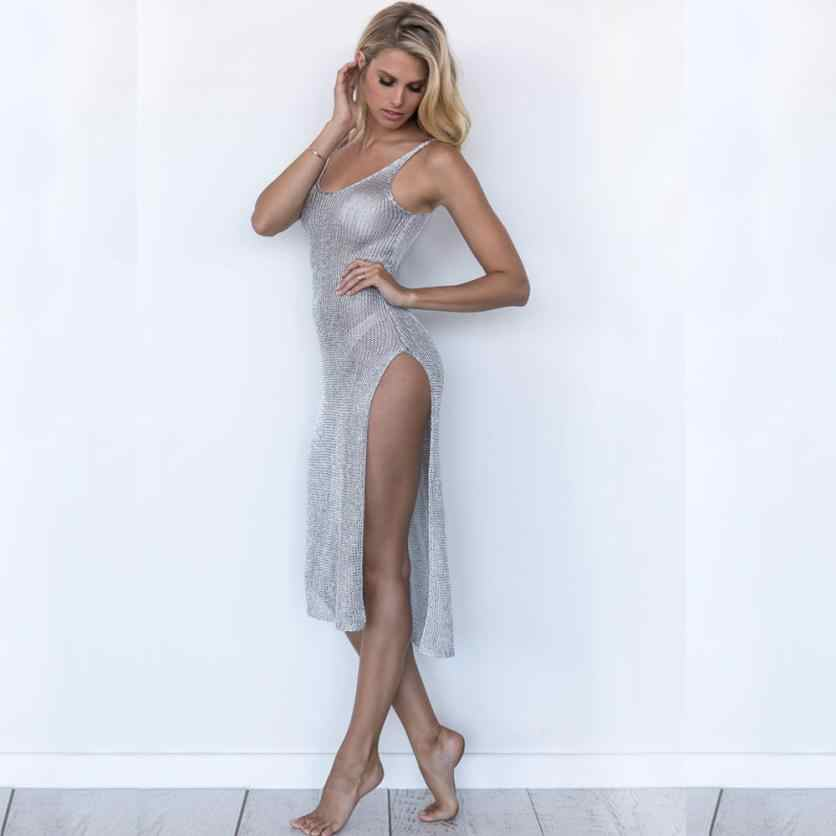 2018 Sexy femmes Long maillot de bain évidé plage couvrir robe chemise hauts pur coton crème solaire livraison directe JL07Y
