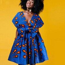 Funklouz Dashiki African Dress for Women Bazin Changeable Print Maxi Dresses