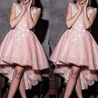 Розовый асимметричный подол платья для выпускного вечера Jewel шеи с аппликацией из кружева и тюля Короткие вечерние праздничные платья Винт