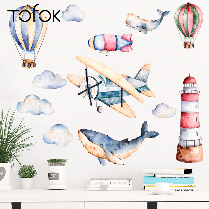 Tofok Watercolor Airplane Lighthouse Wall Sticker Cartoon Baby Kids Room Creative Decal Waterproof Home Adhesive Decor Wallpaper