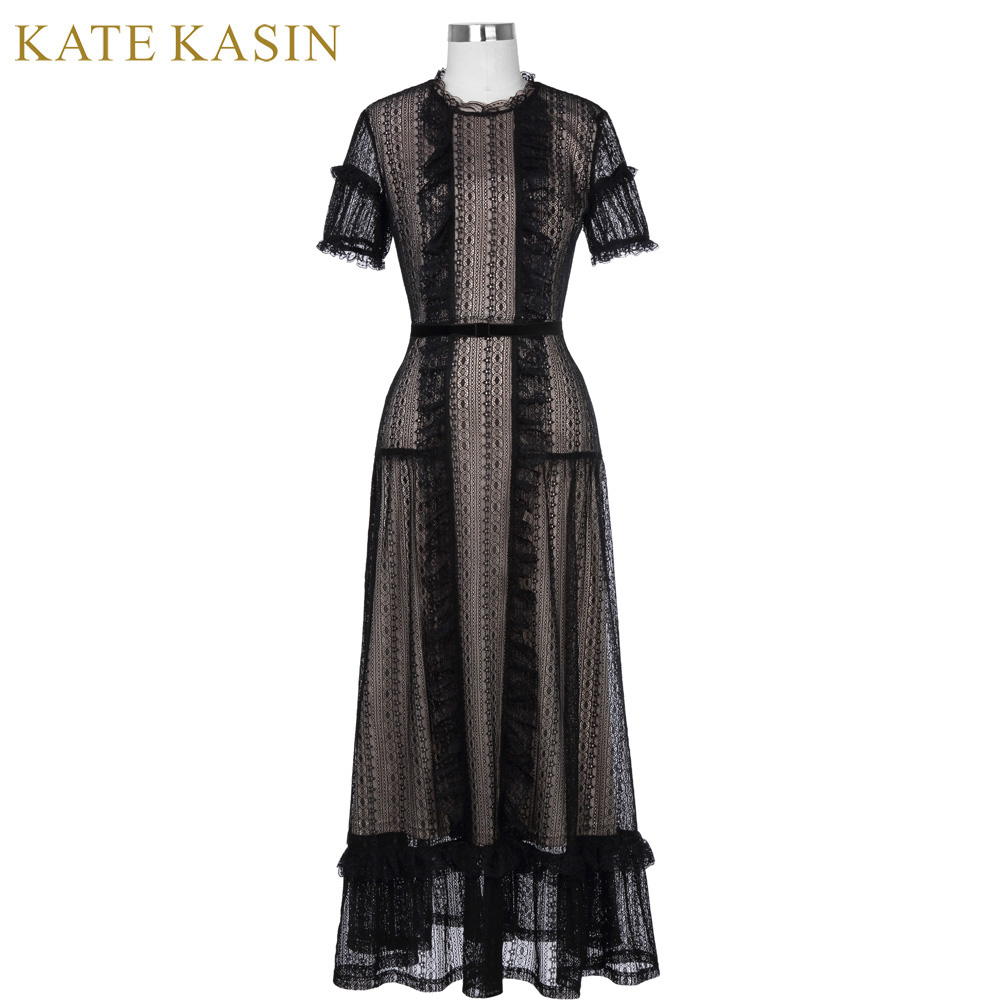 Kate Kasin Short Sleeve Lace Evening Dresses Long with Belt Black ...
